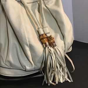 Large Gucci Cream Hobo Leather Bag Excellent